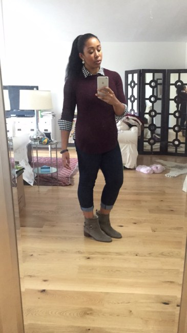 Stitch Fix sweater, J Crew button down, Citizens jeans, and J Crew shearling boots