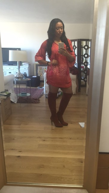 H&M Conscious collection dress, Burgundy high heeled boots