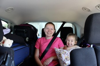 Getting ready for the ride! We barely fit into the minivan we rented. :)