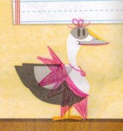 Just a bird wearing a tutu, a bow, and some lipstick. :)