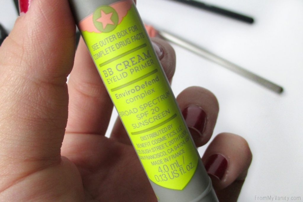 Benefit Air Patrol BB Cream Eyelid Primer // Review // Design of Tube Back // FromMyVanity.com