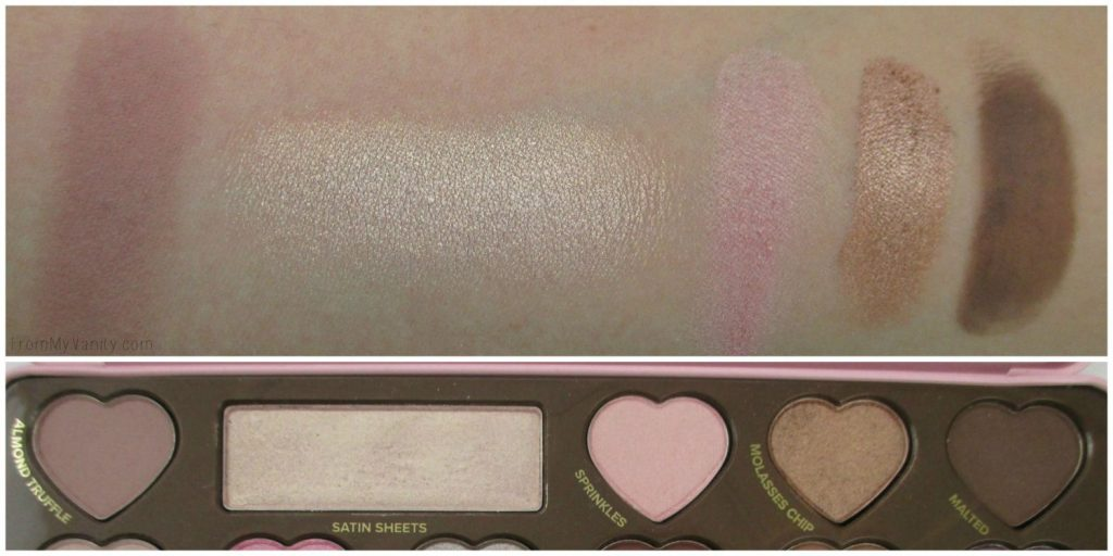 Too Faced Chocolate Bon Bons Palette // Review, Swatches, & Eye Looks // Row 1, Swatches // FromMyVanity.com
