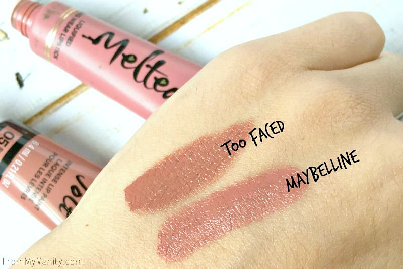 Hand swatches of the Melted and Color Jolt liquid lipsticks