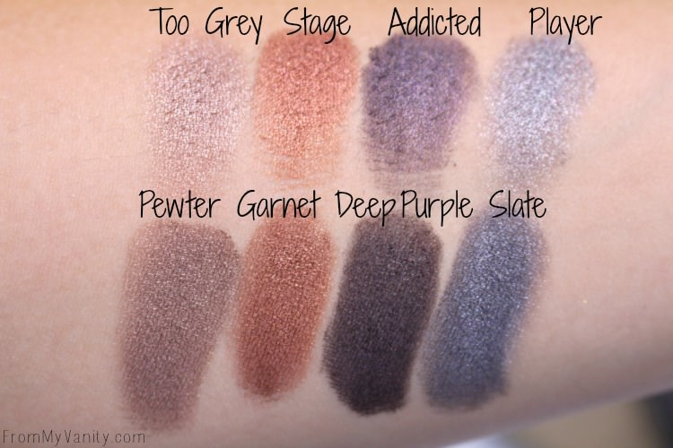 Last four shimmer shadows in the LORAC PRO palette and the Makeup Revolution Iconic Pro 1 palette