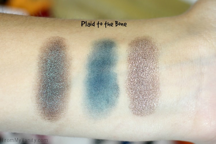Swatches from the Wet n Wild Color Icon Eyeshadow Trio in Plaid to the Bone from the fal 2016 collection