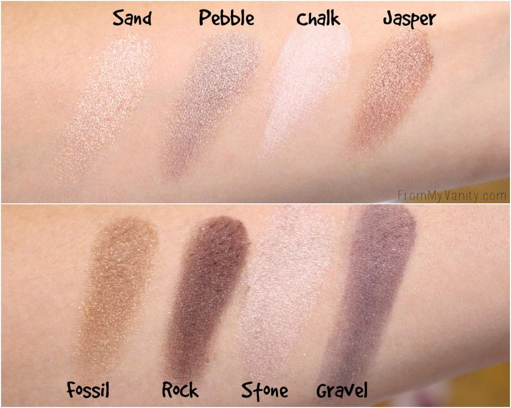 Swatches for the Colour Prevails Nude & Natural eyeshadow palette