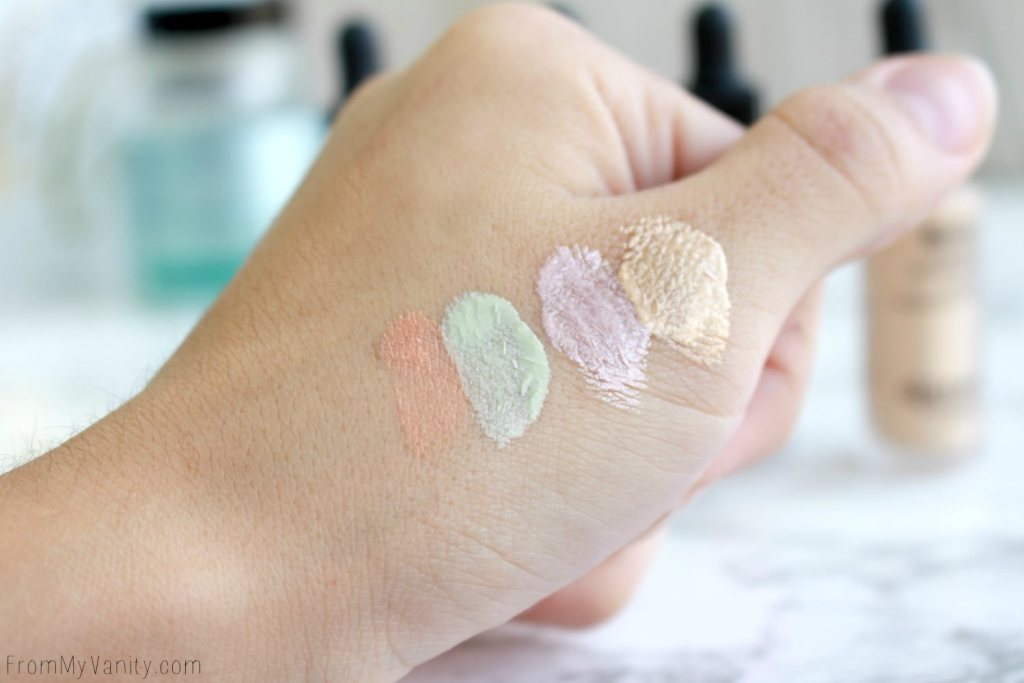 Algenist Reveal Concentrated Drops   The Secret to Natural Makeup?   Swatched drops of the Reveal Concentrated Color Correcting Drops and Concentrated Illuminating Drops