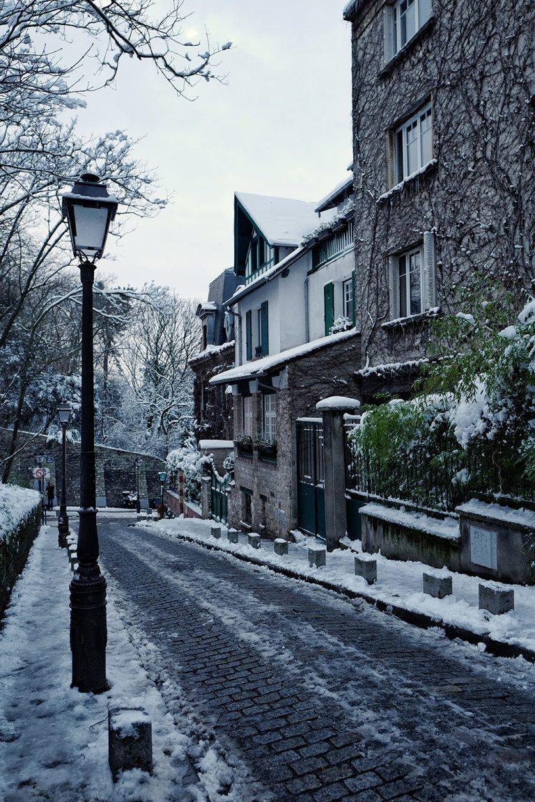 Pretty houses of Montmartre Paris