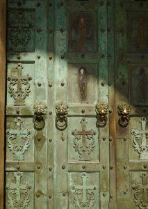Bronze door of San Andrew church Amalfi, Italy