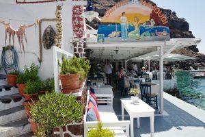 Sunset Ammoudi Oia restaurant, Greece