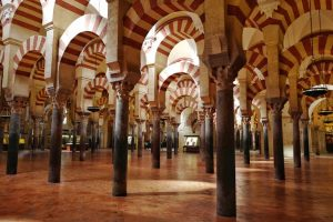 Perspective of the columns of the Cordoba mosque