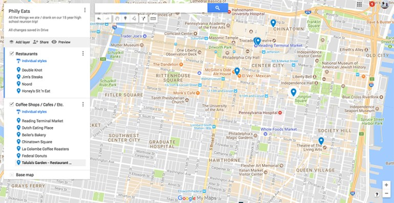 Map of our Philly Adventures