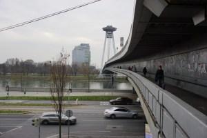 SNP Bridge Bratislava sidewalk