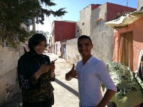 Kawtar and her friend Noureddine