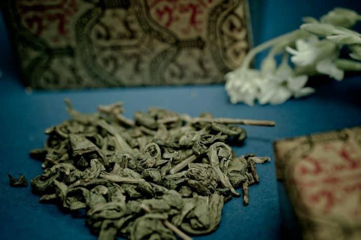 Green tea leafs