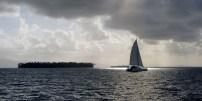 beautiful backlit catamaran