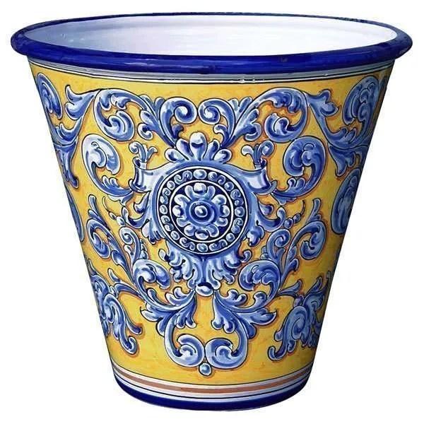 Ceramic Garden Planter. Yellow & Blue