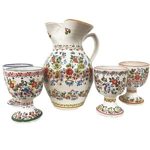 Spanish sangria pitcher and wine goblets