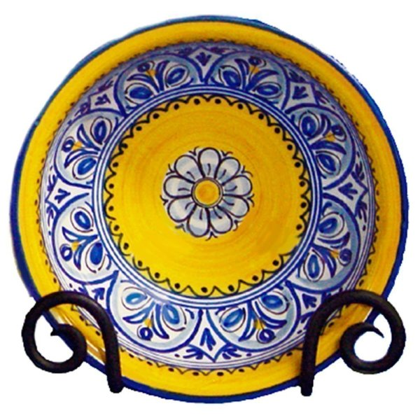 Hand Painted Ceramic Cereal Bowl.  Fiesta Yellow