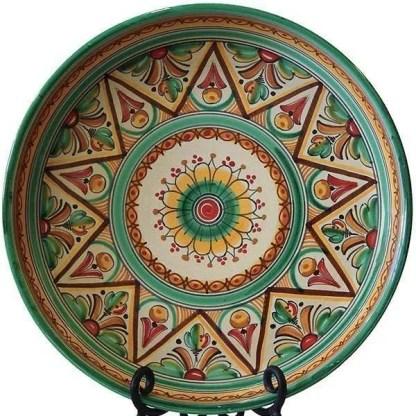 Traditional green Spanish ceramic plate