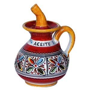 Spanish ceramic oil decanter cruet