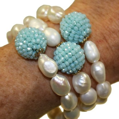 Handmade Pearl and Turquoise Bracelet