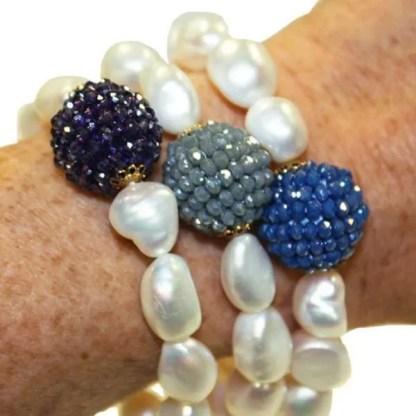 Handmade Pearl and Crystal Bracelet
