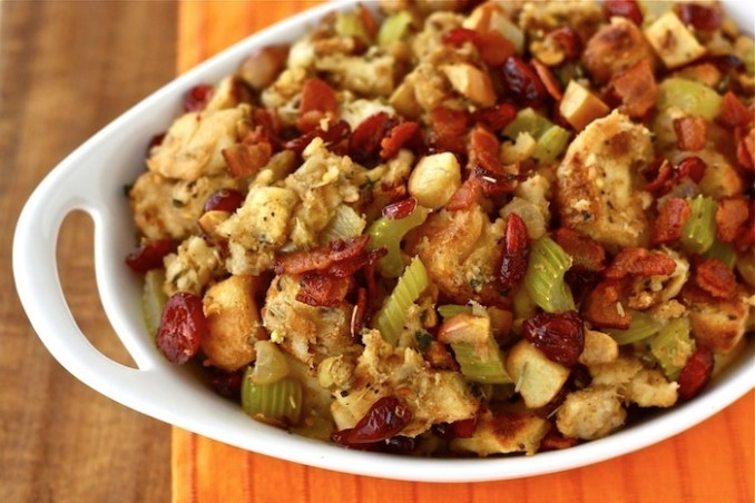 christmas stuffing with cranberry and bacon