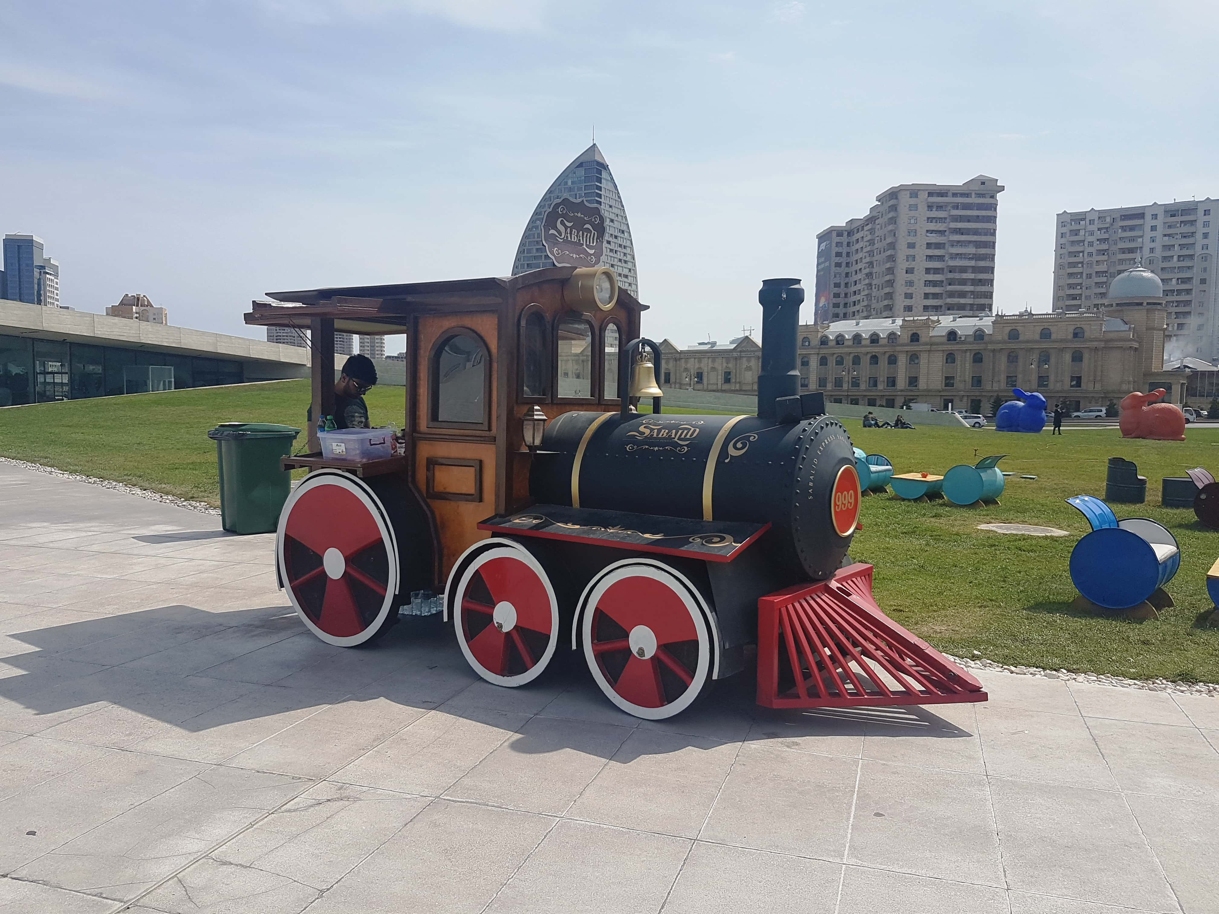 This little engine doubled up as showpiece and snack shop.