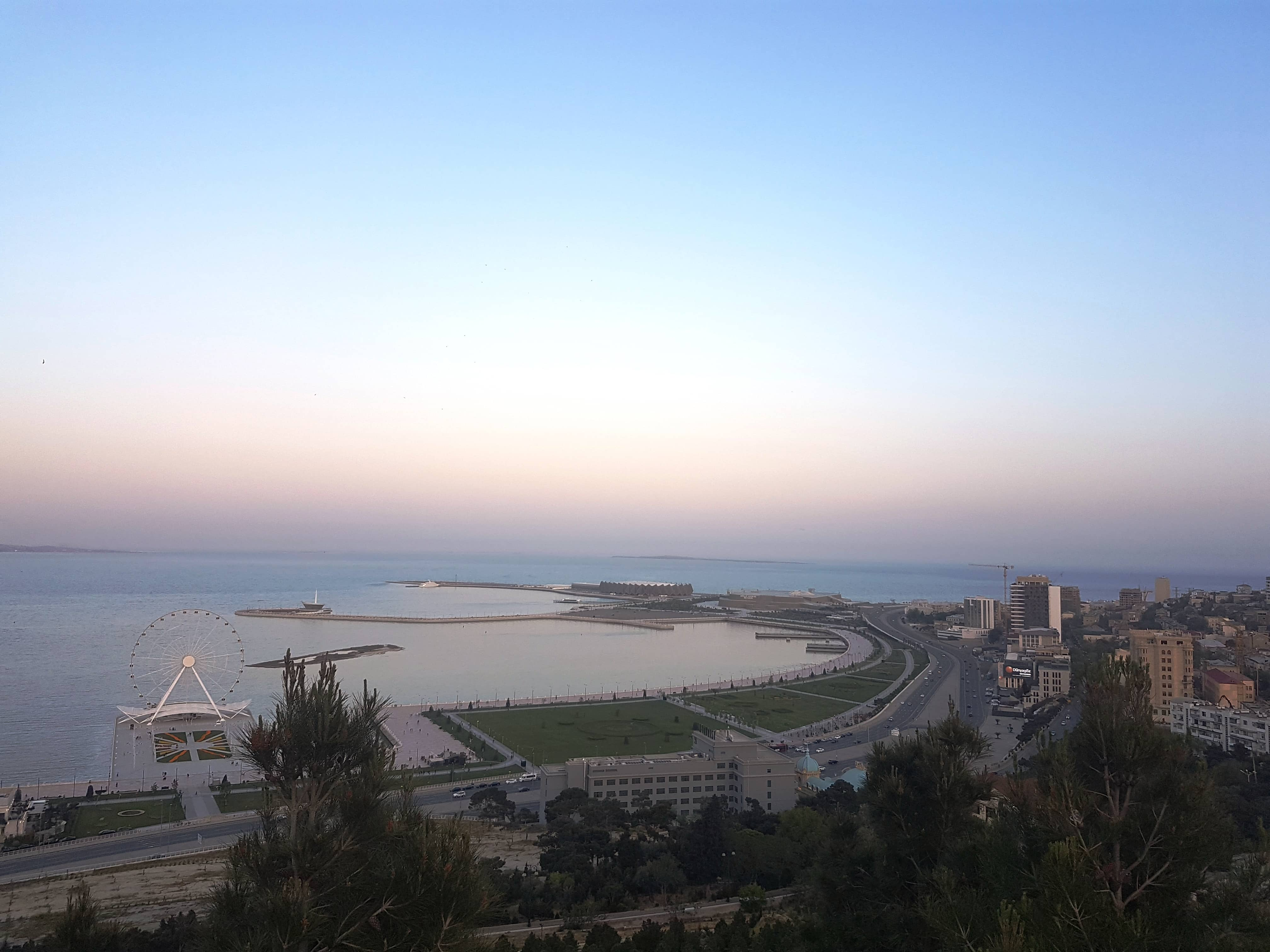 A hilltop view of the Sea and boulevard.