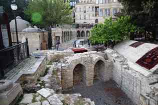 The view of preserved ruins from the entrance to the Maiden Tower.