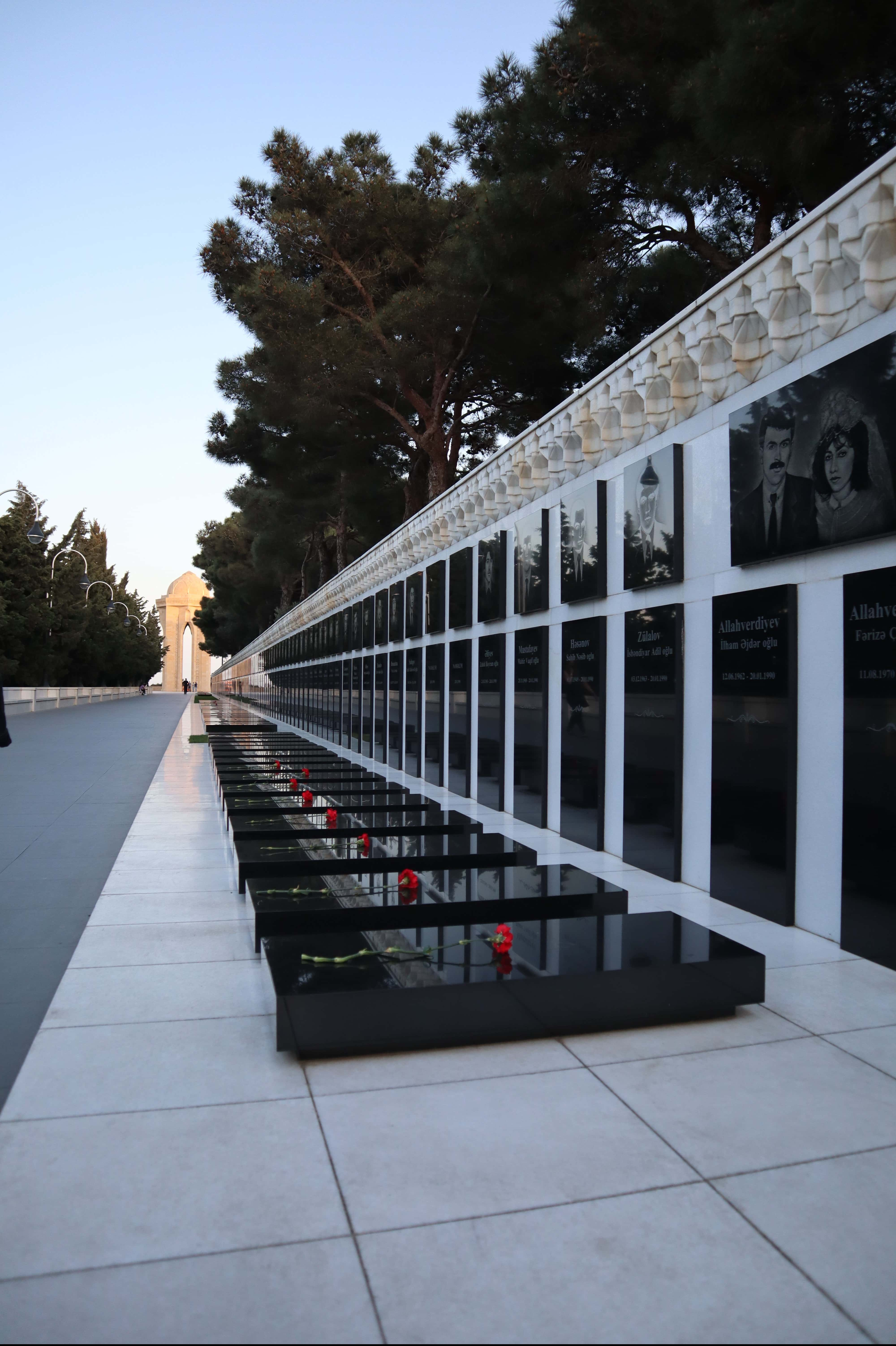 The tombs of those killed in Baku in January 1990; (Extreme right) Fariza and Ilham Allahverdiyev