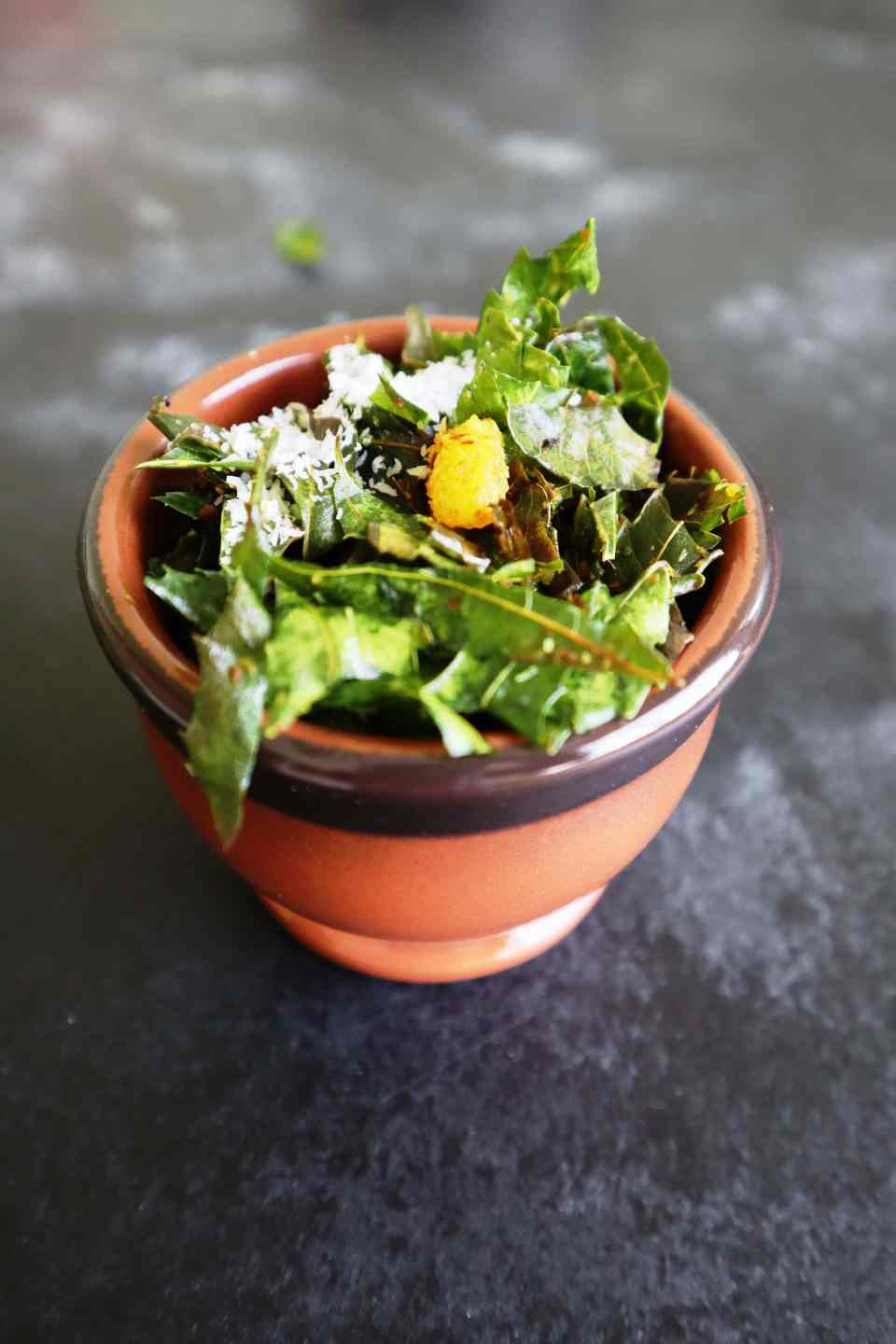Fresh neem leaves stir-fried with coconut to crispy perfection; a recipe on From The Corner Table.