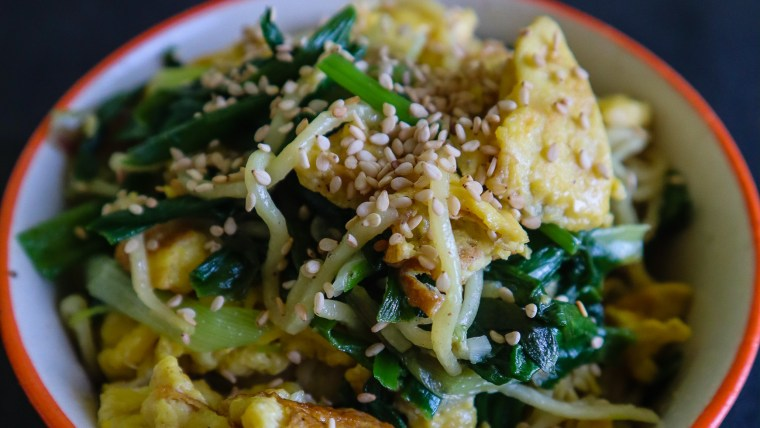 Sesame Egg Noodles | Copyright Image on From The Corner Table