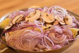 Napa cabbage, red onions and mushrooms ready for the braise