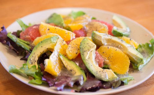 Citrus salad with poppy seed dressing
