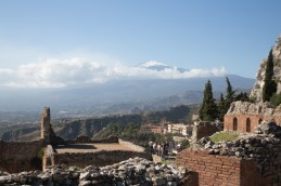 Summit of Mt Etna shrouded in clouds