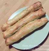 Baked asparagus pesto puff pastry bundles
