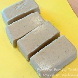 Chilled scrapple cut into blocks