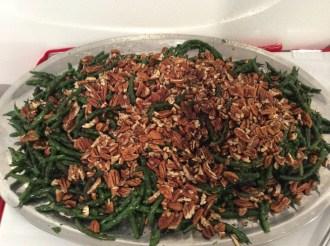 Green bean salad, raw pecans, coffee vinaigrette, green-bean chimichurri