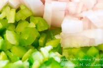 Chopped celery, onion, and bell pepper