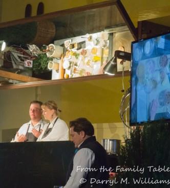 Sarah and Evan Rich demonstrating plancha bread, Ahwahnee Hotel