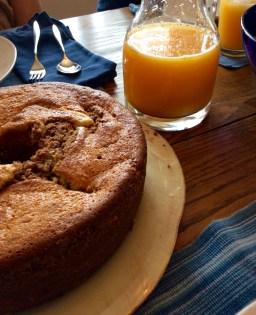 Orange juice and coffee cake