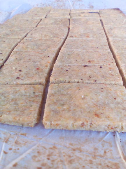 vegetable thins straight out of the oven upclose