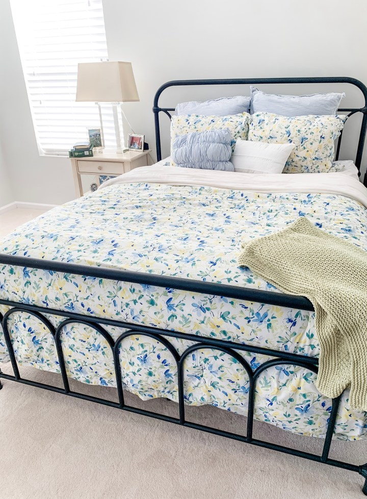 blue and yellow floral bedding