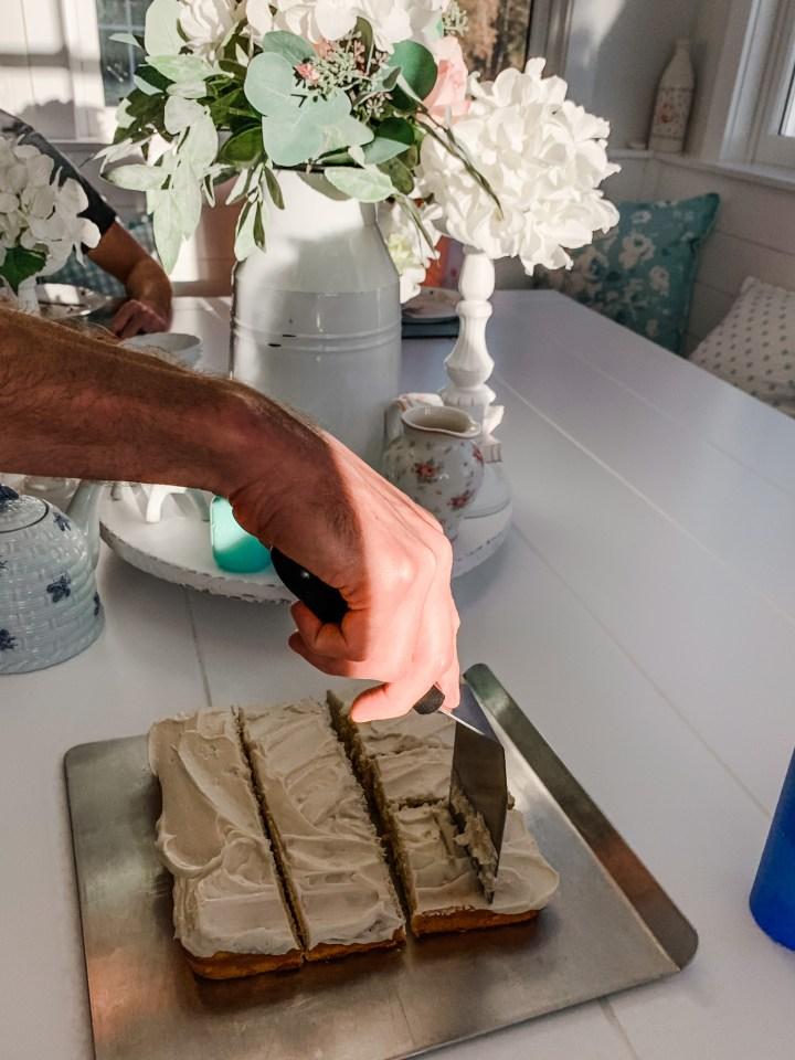 cutting a cake