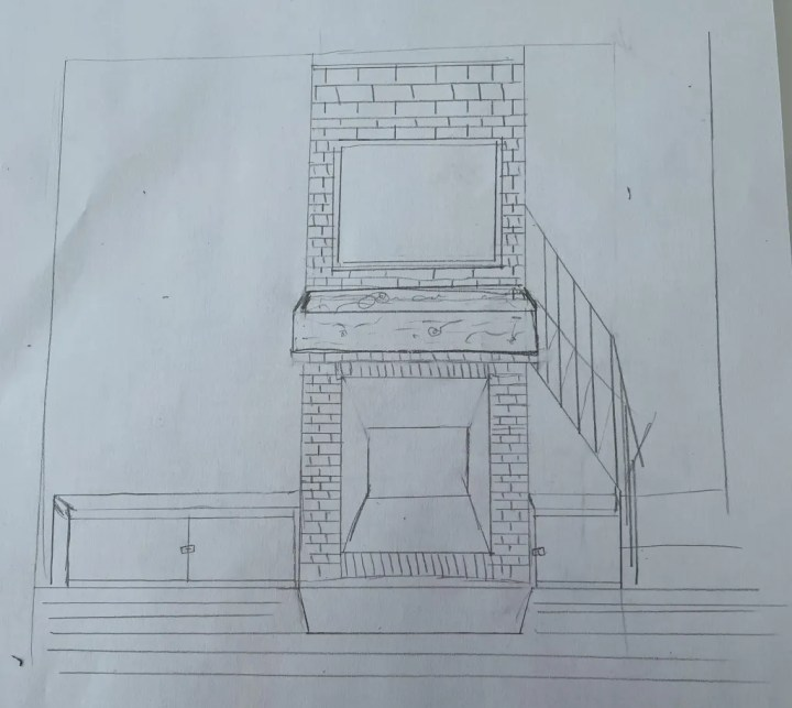 Sketch 2 of living room fire place From the HartLand LLC