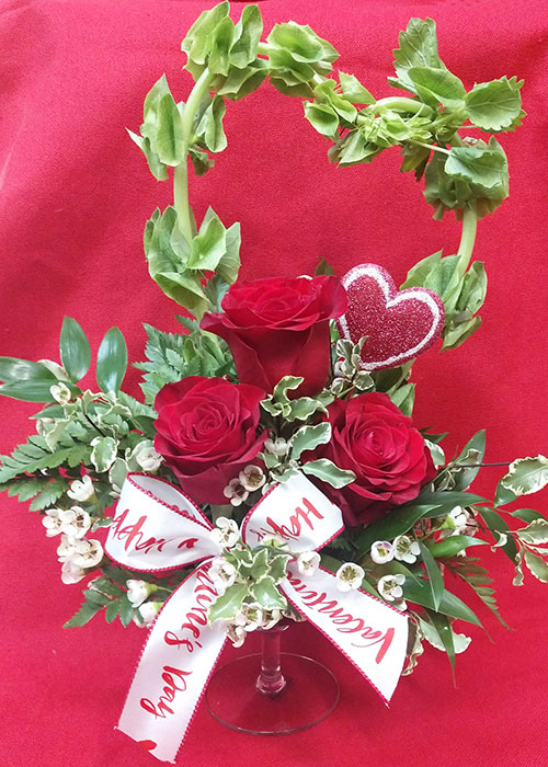 I Give You My Heart Valentines Arrangement of three roses and a floral heart