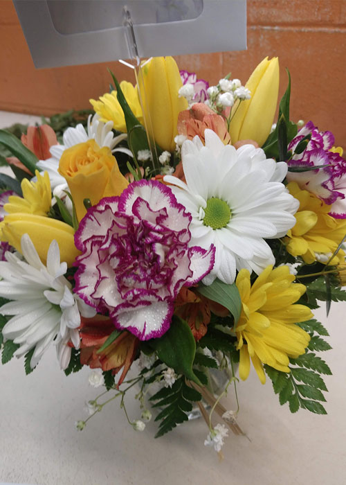 novelty carnations, tulips, roses and daisies