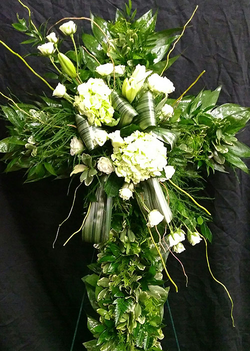 Sympathy and Funeral Arrangements - Custom Shaped Arrangement in Cross - From the Heart Florist